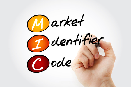 MIC - Market Identifier Code acronym with marker, business concept background 스톡 콘텐츠