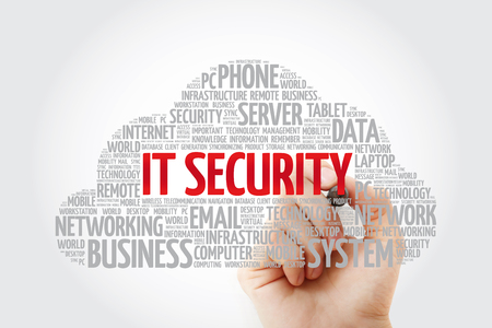 IT Security word cloud collage with marker, technology concept background