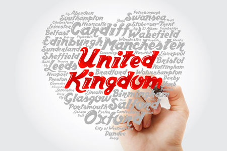 List of cities and towns in the United Kingdom composed in love sign heart shape, word cloud collage with marker, business and travel concept background Stock Photo