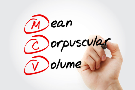 MCV - Mean Corpuscular Volume acronym with marker, concept background Stok Fotoğraf