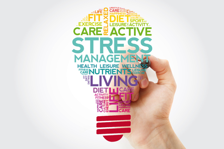 Stress Management bulb word cloud collage with marker, health concept background