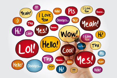 Most common used acronyms and abbreviations speech bubbles, word cloud background, hand written with marker
