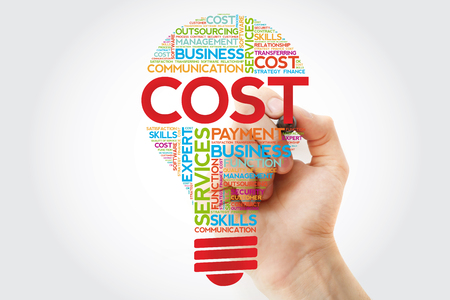 Cost bulb word cloud with marker, business concept