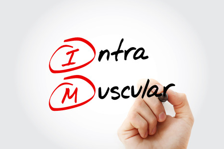 IM - intramuscular acronym with marker, concept background