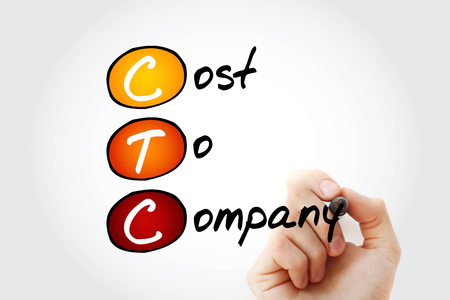 CTC - Cost To Company acronym with marker, business concept background