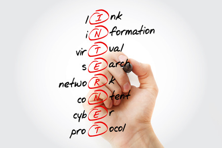 INTERNET - Link, Information, Virtual, Search, Network, Content, Cyber, Protocol acronym with marker, business concept background