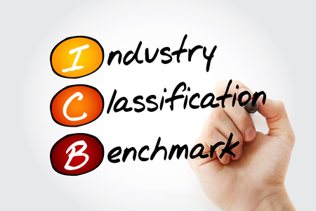 ICB - Industry Classification Benchmark acronym with marker, technology concept