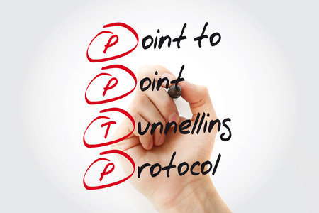Hand writing PPTP Point to Point Tunnelling Protocol with marker, acronym concept