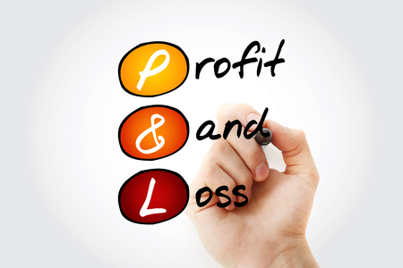 P&L - Profit and Loss acronym with marker, business concept background