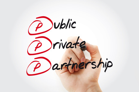 PPP - Public-private partnership acronym with marker, business concept background Stock Photo