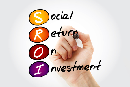 SROI - Social Return On Investment acronym with marker, business concept background