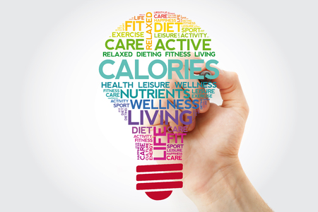 CALORIES bulb word cloud collage with marker, health concept background Standard-Bild - 116501560