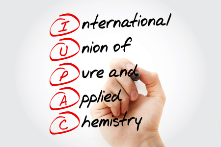 IUPAC - International Union of Pure and Applied Chemistry acronym with marker, concept background