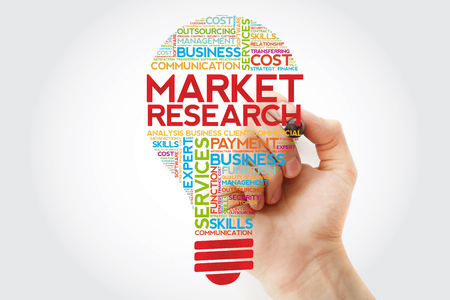 Market Research bulb word cloud with marker, business concept