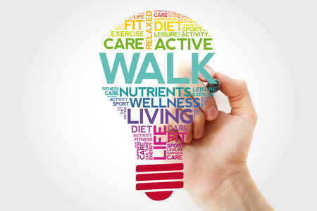 WALK bulb word cloud collage with marker, health concept background Stok Fotoğraf