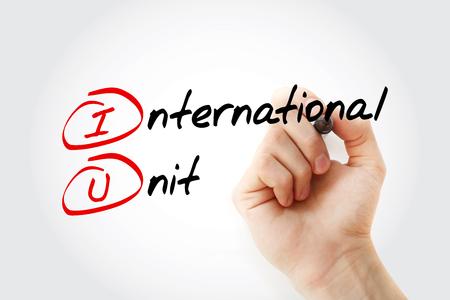 IU - International Unit acronym with marker, concept background