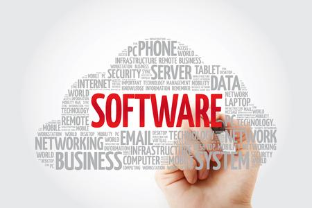 Nube de palabras de software con marcador, fondo del concepto de negocio
