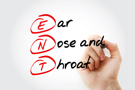 ENT - Ear Nose and Throat acronym with marker, concept background Banco de Imagens