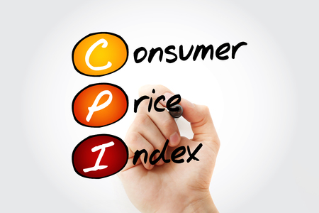 Hand writing CPI - Consumer Price Index with marker, concept background