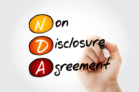 NDA - Non-Disclosure Agreement acronym with marker, business concept background