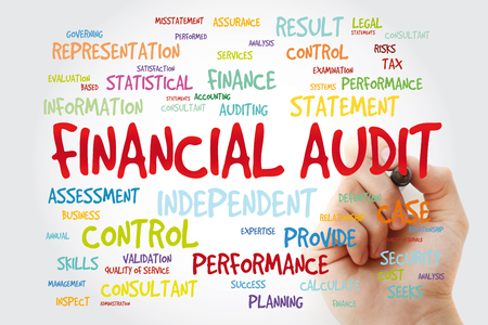 Financial Audit word cloud with marker, business concept background Stok Fotoğraf