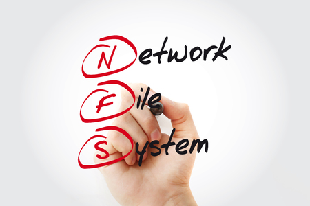 NFS - Network File System acronym with marker, concept