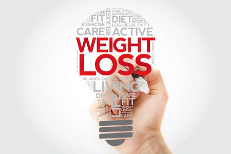 Weight Loss bulb word cloud collage with marker, health concept background