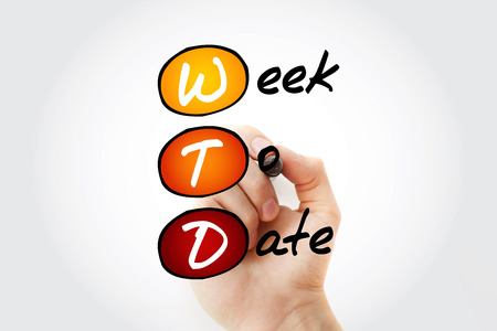 WTD - Week To Date acronym with marker, business concept background 스톡 콘텐츠