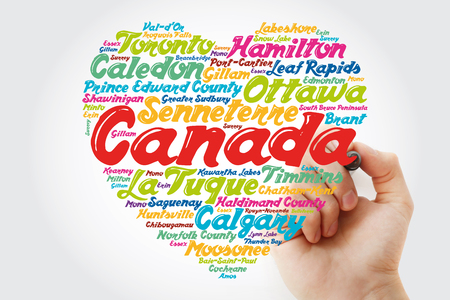 List of cities and towns in Canada composed in love sign heart shape, word cloud collage with marker, business and travel concept background Stock Photo