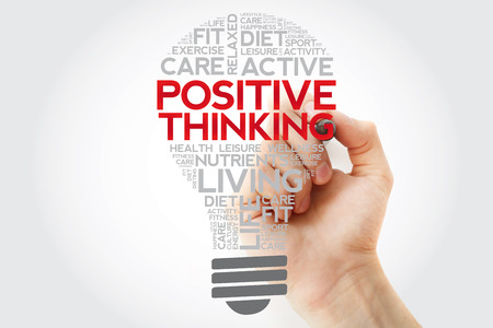 Positive thinking bulb word cloud collage with marker, health concept background