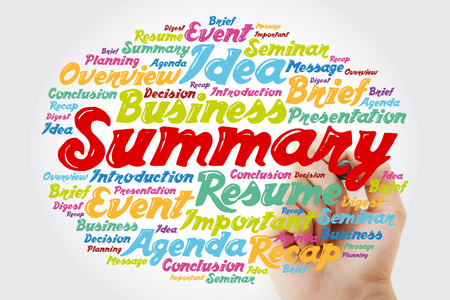 Summary word cloud with marker, business concept background