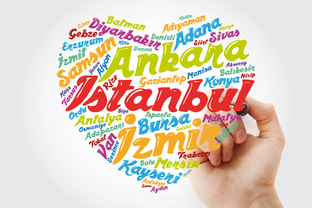 Heart word cloud with List of cities in Turkey, concept background with marker