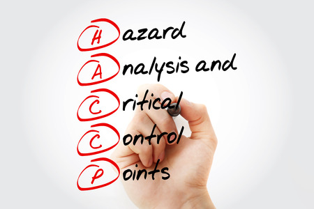 HACCP - Hazard Analysis and Critical Control Points acronym with marker, concept background