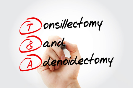 T&A - Tonsillectomy and Adenoidectomy acronym with marker, concept background