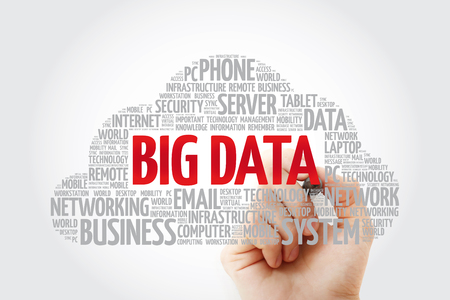 Big Data word cloud with marker, technology business concept background