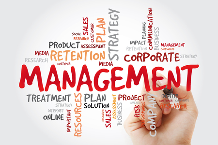 MANAGEMENT word cloud with marker, business concept