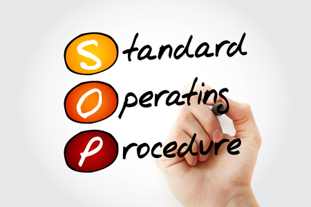 SOP - Standard Operating Procedure acronym with marker, business concept background 스톡 콘텐츠