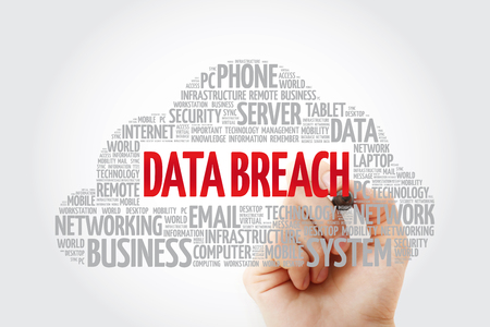 Data Breach word cloud collage, business concept background Stock Photo
