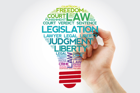 Legislation bulb word cloud collage with marker, business concept background