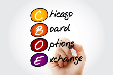 CBOE – Chicago Board Options Exchange acronym with marker, business concept background Banco de Imagens