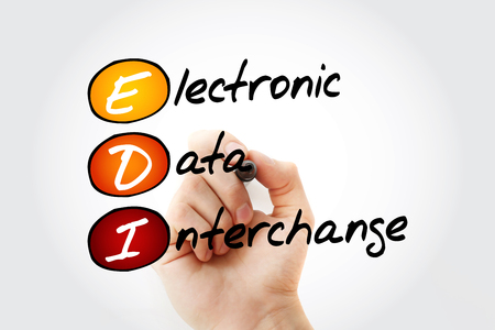 EDI - Electronic Data Interchange acronym with marker, business concept background