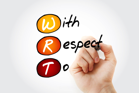 WRT - With Respect To acronym with marker, concept background 스톡 콘텐츠 - 116500756