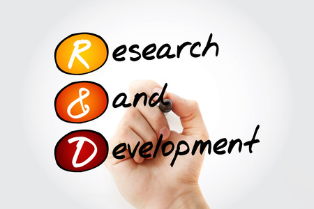 R&D - Research and Development acronym with marker, business concept background Stockfoto