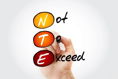 NTE - Not To Exceed acronym with marker, business concept background 写真素材