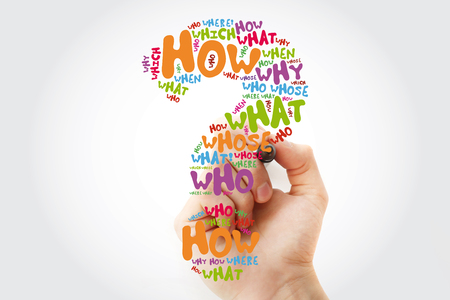 Question mark - Questions whose answers are considered basic in information gathering or problem solving, word cloud with marker Stock Photo
