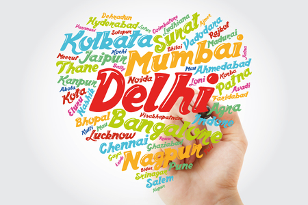 List of cities and towns in India composed in love sign heart shape, word cloud collage with marker, business and travel concept background