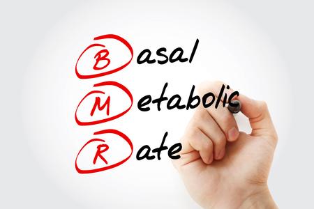 BMR - Acrónimo de tasa metabólica basal con marcador, concepto de fondo