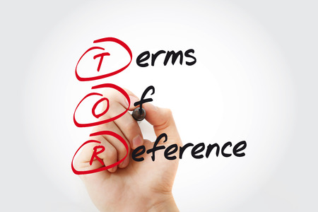 Hand writing TOR - Terms of Reference with marker, acronym business concept