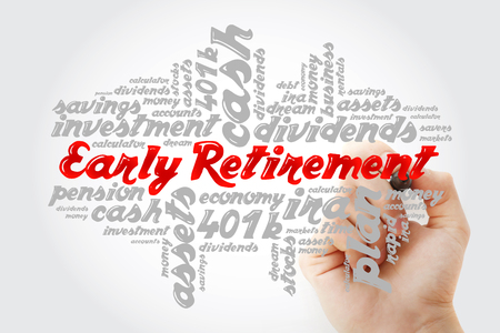Hand writing Early Retirement with marker, concept background Stock Photo