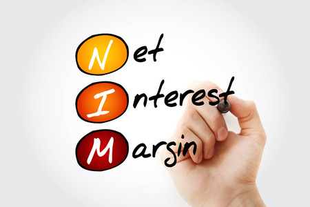 NIM - Net Interest Margin acronym with marker, business concept background
